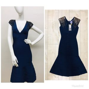 HERVE LEGER BLUE SEQUIN DRESS SIZE SMALL